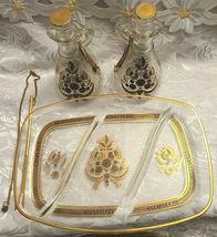 RARE 1950's Georges Briard Sonata Dove Rectangle Glass Tray & Cruets V&O image 11