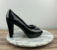 Vintage Kate Spade Womens 6.5 Black Patent Leather Animal Print Peep Toe Pumps - $49.95