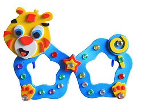 Set of 3 EVA Sticker Easy Crafts for Kids DIY Colorful Glasses(Tiger)