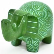 Vaneal Group Hand Crafted Kisii Soapstone Green Elephant Figurine Made in Kenya image 2