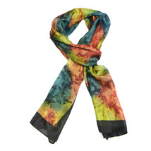 "NEW 100% Silk, Tie-Dye Vibrant Opal Colors, Black Trim, Shawl/Scarf (70""... - $29.00"