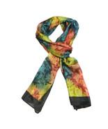 "NEW 100% Silk, Tie-Dye Vibrant Opal Colors, Black Trim, Shawl/Scarf (70""... - $29.00"