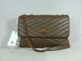 NWT Tory Burch Classic Taupe Kira Chevron Convertible Shoulder Bag - $502.91