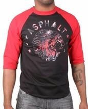 Asphalt Yacht Club Hombre Negro Rojo Jefe Indio Viaje Camiseta Raglan Americano