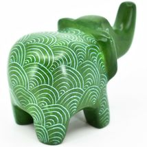Vaneal Group Hand Crafted Kisii Soapstone Green Elephant Figurine Made in Kenya image 4