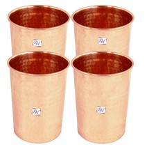 Handmade Set of 4 Copper Glass Tumbler Drink Water Good Health Yoga - $61.59