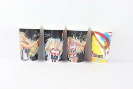 Vintage 90s Lot of 4 McDonald's USA Basketball Plastic Cups Stockton Walton Bird - $36.58
