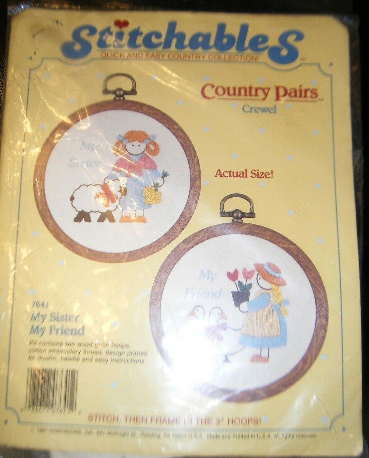Primary image for Stitchables country pairs my sister my friend cross stitch kit 7641 new w/ hoops
