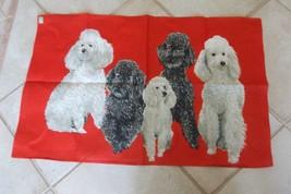 Vintage Ulster Linen Tea Towel Poodles Dogs Black White on RED - $19.99