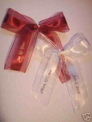 50 made bows PERSONALIZED RIBBON  1.5 inch satin and organza ribbon