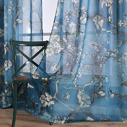 Taisier Home Chinese Style Plum Blossom Curtain Artistic Print Curtains 95 Inche