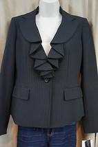 Anne Klein Petite Blazer Sz 4P Onyx Multi Pin Striped Chic Business Jacket - $39.53
