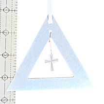 Aluminum and Crystal Triangle Ornament  Cross image 3