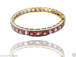 Tourmaline Gemstone 14k Gold Bangle Bracelet Diamond 925 Sterling Silver... - $892.98