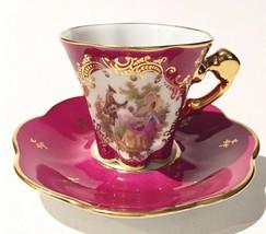 Limoges FRANCE Demitasse Cup Saucer Trim Real Gold victorian scallop tea floral - $112.46