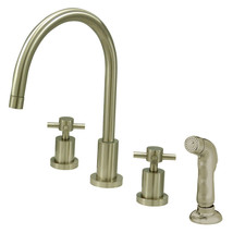 Concord Double Handle Widespread Kitchen Faucet with Non-Metallic Sprayer - $290.21
