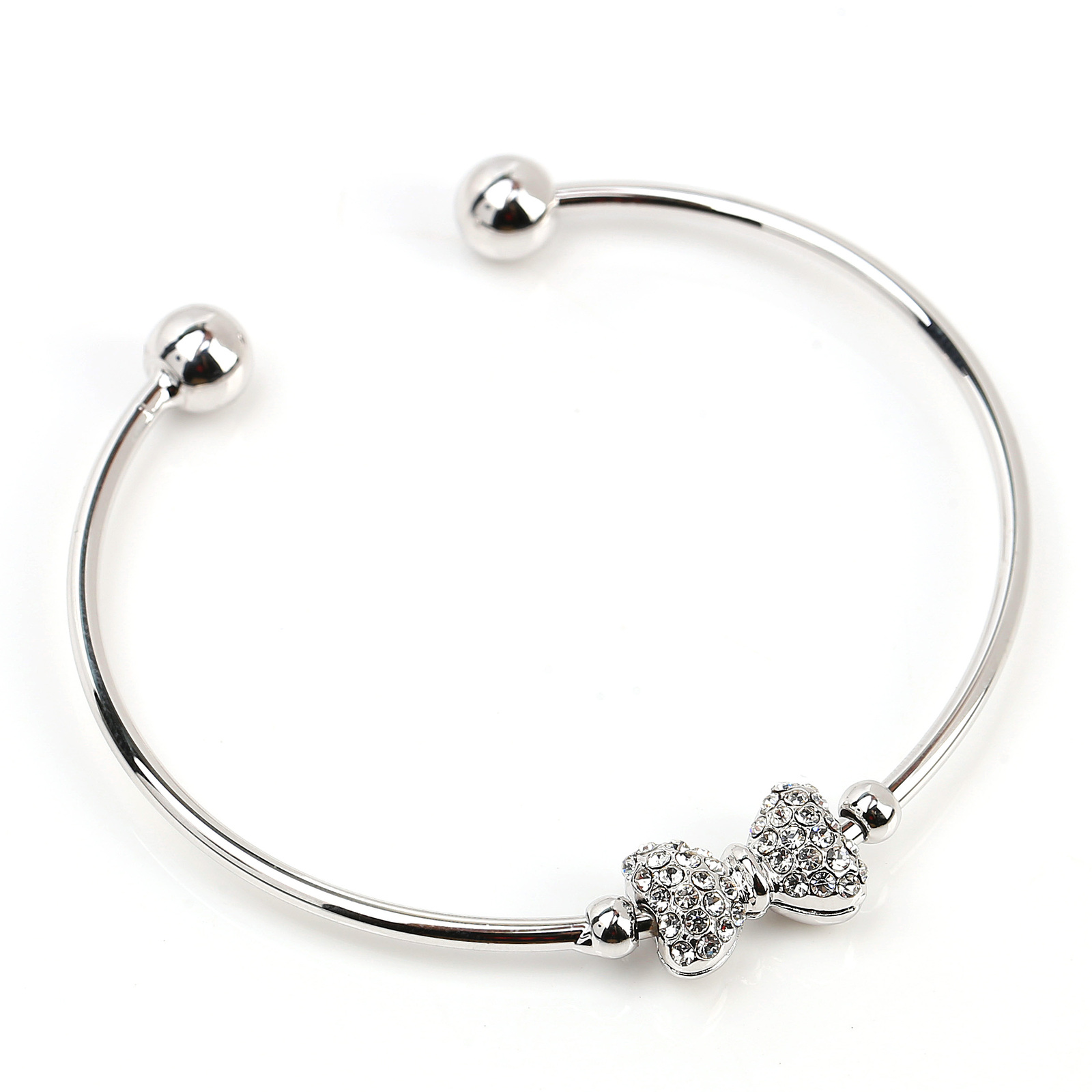 UE-Trendy Silver Tone Designer Bangle Bracelet With Swarovski Style Crystal Bow
