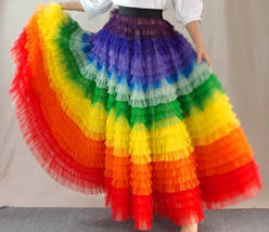 Adult Rainbow Tulle Skirt Long Colorful Rainbow Tutu Rainbow Costume High Waist  image 1