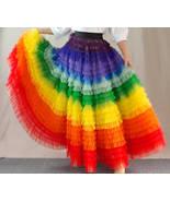 Women Rainbow Tulle Skirt Maxi Colorful Tutu Skirt Rainbow Costume High ... - $185.99