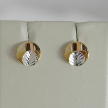 18K WHITE YELLOW GOLD ROUND EARRINGS FINELY WORKED, DOUBLE LEAF, MADE IN ITALY image 1