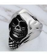 Skull Gothic Cast Death Grim Reaper Rings for Men Large Vintage Biker Je... - $12.99