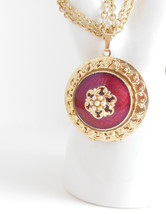 Vintage Unsigned Ladies Quality Costume Jewelry Gold Burgundy Locket Nec... - $19.95