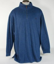 Polo Ralph Lauren Blue 1/4 Zip Cotton Sweater Dark Red Polo Pony Mens NWT - $63.74