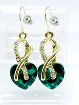 Clear Green Rhinestone Heart Dangle Gold Tone Post Earrings 1980s - $19.79