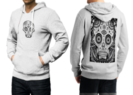 Day of the Dead Skull  White Cotton Hoodie For Men - $39.99