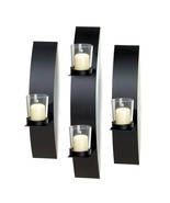 MODERN CONTEMPORARY WALL SCONCE TRIO Decorative Black Home Accents  - $29.30
