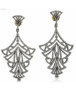 4.20Ct Rose Cut Diamond Sterling Silver Awesome Victorian Look Earrings ... - $575.48