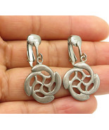 DESIGNER 925 Silver - Vintage Cutout Swirl Floral Design Dangle Earrings... - $30.89