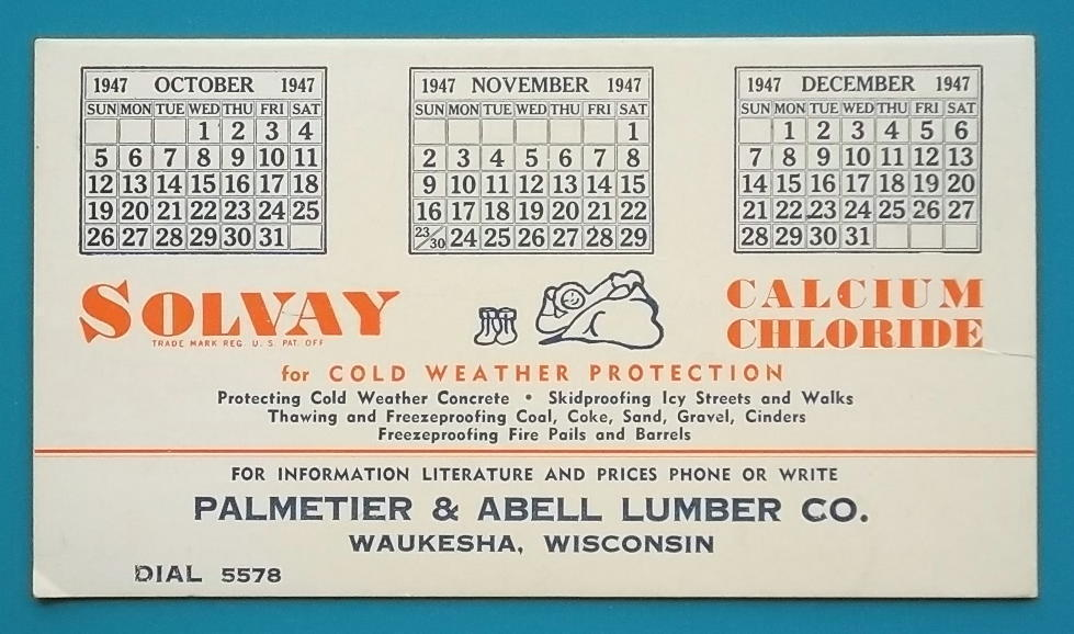 SOLVAY Cold Weather Concrete Protection - 1947 AD Ink Blotter Waukesha Wisconsin