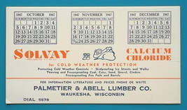 SOLVAY Cold Weather Concrete Protection - 1947 AD Ink Blotter Waukesha W... - $4.49