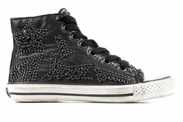 Ash Vibration Star Jewel Studded Black Leather Hi Top Trainer Sneakers 38 8 - $95.00