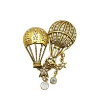 Kirks Folly Clear AB Rhinestone Hot Air Balloons Stars Vintage Dangle Br... - $59.39