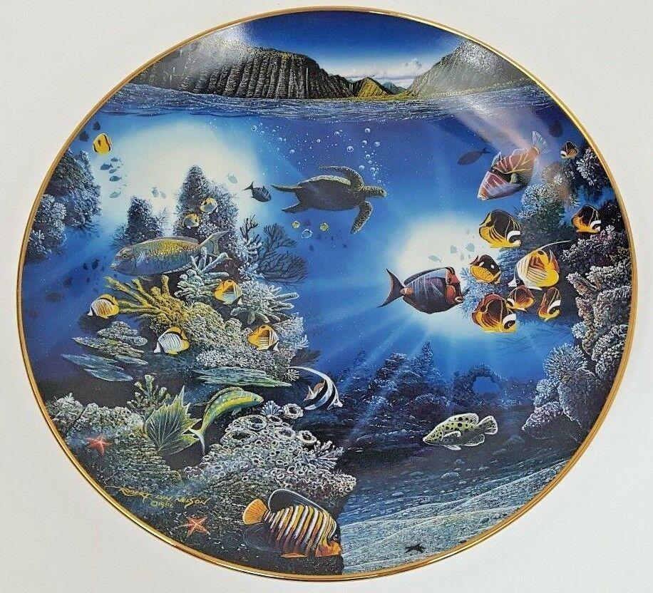 Danbury Mint Underwater Paradise Serenity Of Waipio Plate 1991 Robert Lyn Nelson