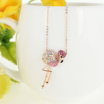 Flamingo Bird Animal Pink Austrian Crystal Necklace Pendant Rose Gold GP... - $77.30