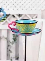 Tea Cup Bird Feeder Topsy Turvy Cartoon Look Double Pronged Iron Garden Stake
