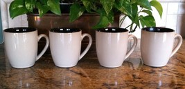 Lot of 4 Jessica McClintock Home Mugs Cups Tan Brown Sturdy Basic Nuetral - $19.79