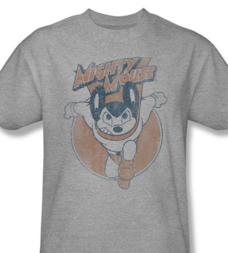 Mighty mouse t shirt retro superhero vintage cartoon graphic tee heather gray cbs935