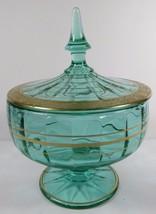 TIFFIN Green Glass Covered Dish Pedestal Paneled Bowl Lid Gold Gilt Ramb... - $197.99