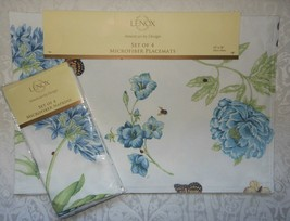 Set of 8 Spring Lenox Blue Butterfly Meadow Fabric 4 Napkins & 4 Placema... - $54.99