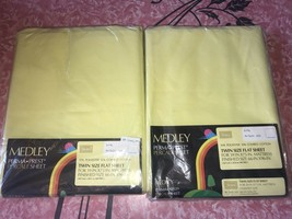 SEARS MEDLEY ~ NOS Vtg Twin Flat Sheet Yellow Perma Prest Percale 1960's... - $21.03