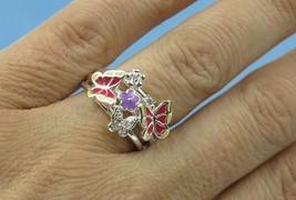 Enamel Cz Flower Butterfly Fashion Ring Sz 6 - $17.60