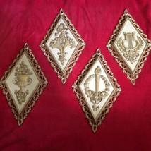 Vintage Set of 4 Homco Plaques Ornate Wall Hangings 1971 Plastic Diamond... - $12.19