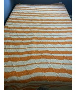 Handmade Crochet Blanket Orange Beige - $98.99
