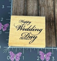 Stampin' Up! Rubber Stamp Happy Wedding Day 2002 Wooden Mounted Marriage... - $1.98