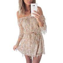 Summer Slash Neck Tassel Sequins Women Mini Dress - $33.42