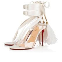 Christian Louboutin White Marie Edwina 100MM Sandals New - $1,359.00